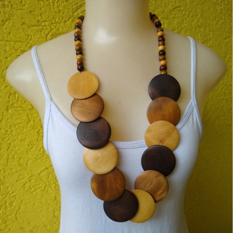 Colar De Madeira Colorido Feminino  Ref: 7966