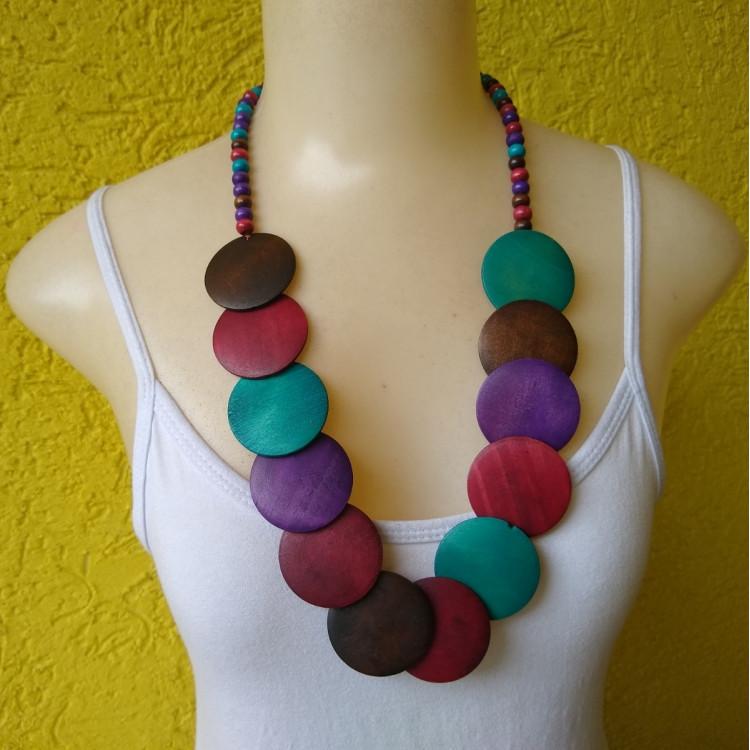 Colar De Madeira Colorido Feminino  Ref: 7968